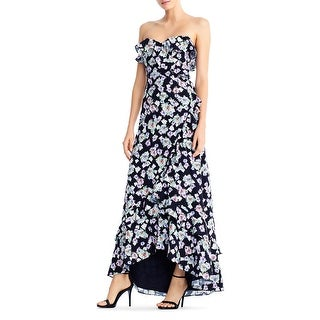 Aidan by Aidan Mattox Womens Evening Dress Floral Print Faux Wrap - Black Multi