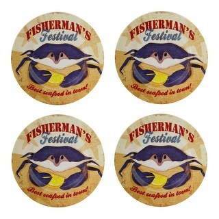 Crab Shack Fisherman's Festival 8 Inch Melamine Plates Set of 4