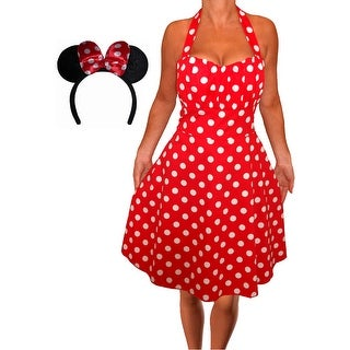 Funfash Plus Size Halloween Costume Red White Dress Minnie Mouse Ears