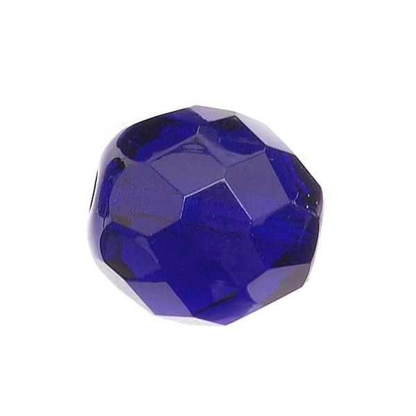 Czech Fire Polished Glass Beads 12mm Round Cobalt (10)