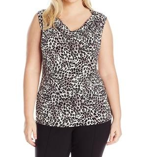 Nine West NEW Black Women's Size 2X Plus Leopard Print Cowl Neck Blouse