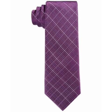 Calvin Klein Kid's Boy's Purple Etched Grid Skinny Slim Neck Tie