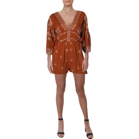 Free People Womens Romper Side-Tie Embroidered