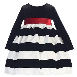 White Black Flocked Stripe Long Sleeve Christmas Dress Girl 6M-10