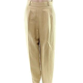 Jones York Beige Women'd 14 Straight Dress Pants Silk Stretch