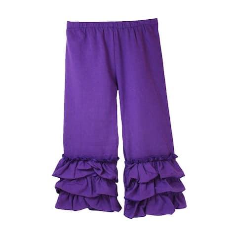Girls Purple Triple Tier Ruffle Cuffed Cotton Spandex Pants 12M-7