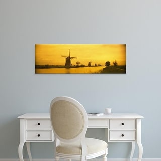 Easy Art Prints Panoramic Images's 'Windmills Kinderdijk Netherlands' Premium Canvas Art