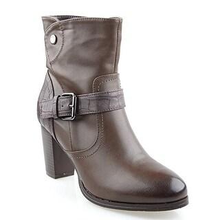 Eyekepper Women's Fashion Flannel Lining Belted Chunky Heel Side Zipper Stacked Ankle Booties Dark Brown