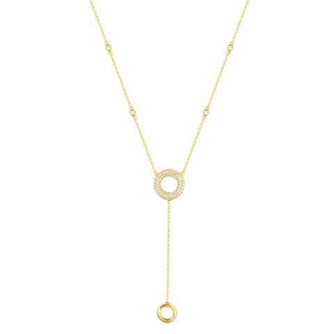Vedantti 0.59Ct Round G-H/VVS1 Natural Diamond Open Trio-Max Circle Everyday Wear Lariat Necklace - White