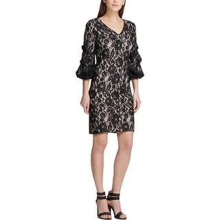 DKNY Womens Cocktail Dress Lace Ruched Sleeve - Black