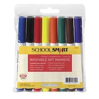 School Smart Non-Toxic Quick Dry Washable Marker, Chisel Tip, Assorted Colors, Pack of 8