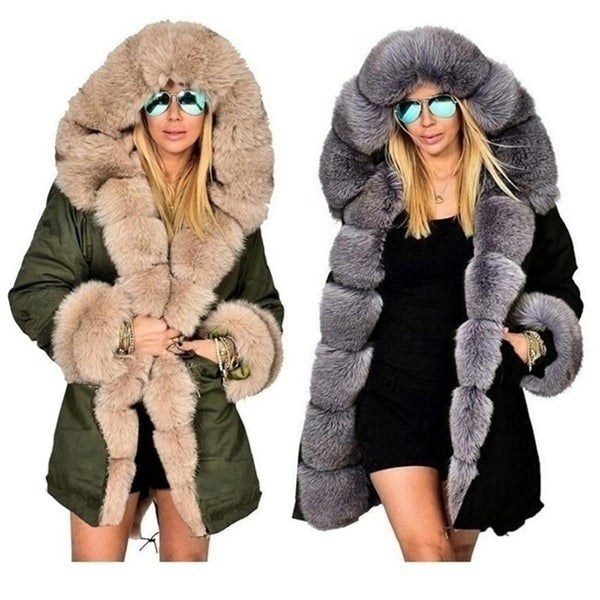 aa62844a1e Shop Winter Fashion Warm Women Parka Casual Fur Coats Woman Clothes ...