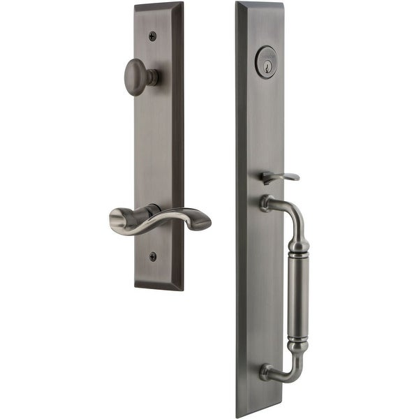 """Grandeur FAVCGRPRT_ESET_234_RH Fifth Avenue Solid Brass Rose Right Handed Keyed Entry Single Cylinder """"C"""" Grip Handleset with"""