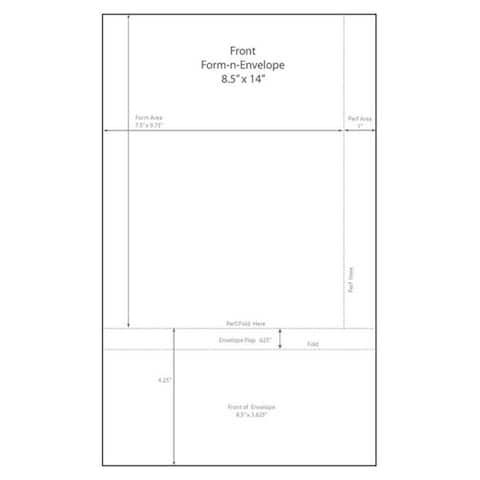 "8-1/2"" x 14"" Blank Memo Size Form-N-Envelope, Detached w/ Tear off strip - 7-1/2"" x 9-3/4"" (Box of 1000) - White - 8-1/2 x 14 in"