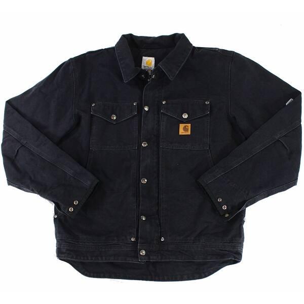 Shop Black Friday Deals On Carhartt Black Mens Size Medium M Button Down Berwick Jacket Overstock 27281328