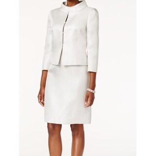 Tahari by ASL NEW White Ivory Women's 12 Shimmer Jacquard Skirt Suit