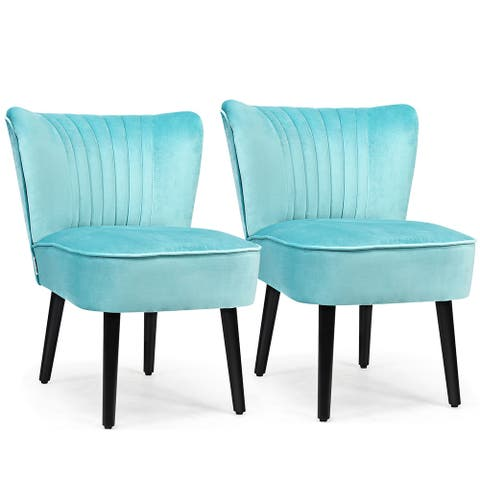 Costway Set of 2 Armless Accent Chair Upholstered Leisure Chair Single - 23'' x 27.5'' x 30''