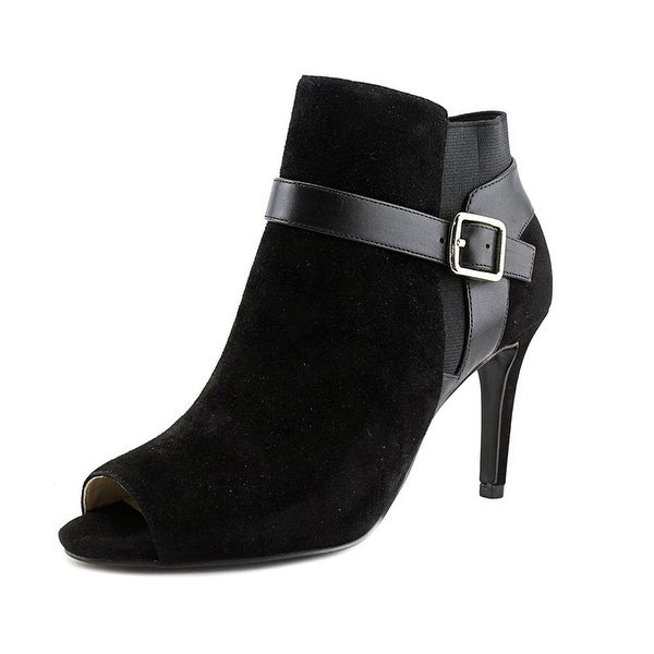 Marc Fisher Shimmee Women W Peep-Toe Leather Black Ankle Boot