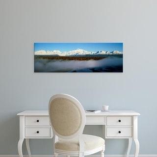 Easy Art Prints Panoramic Image 'Snowcapped mountains at dawn, Alaska Range, Denali National Park, Alaska' Canvas Art