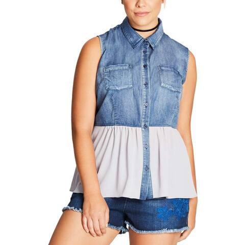 City Chic Blue Women's Size XS Chambray Mix Media Button Down Shirt