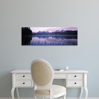 Easy Art Prints Panoramic Image 'Mountains, Little Redfish Lake, Sawtooth National Recreation Area, Idaho' Canvas Art