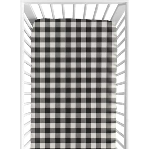 Black and White Buffalo Plaid Collection Boy Fitted Crib Sheet - Woodland Rustic Country Farmhouse Check Deer Lumberjack