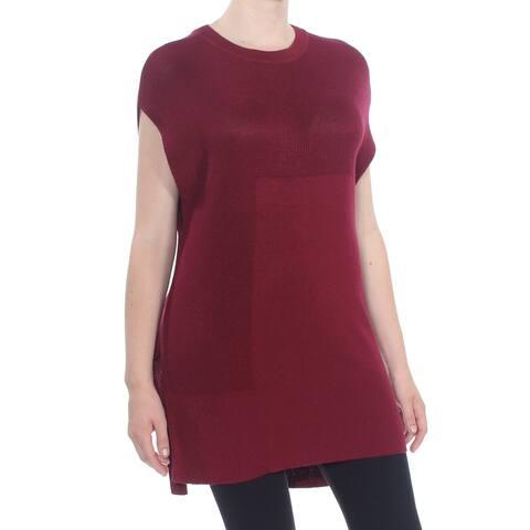WORTHINGTON Womens Maroon Sleeveless Crew Neck Hi-Lo Sweater Size M