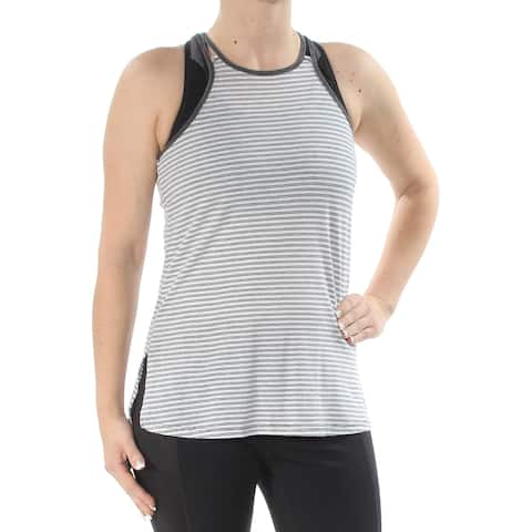 TOMMY HILFIGER Womens Gray Striped Sleeveless Jewel Neck Top Petites Size: XS