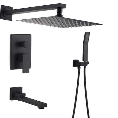 Shower Faucets Sets Complete Matte Black Shower System 10 Inches Rain Shower Head with Handheld Shower Valve