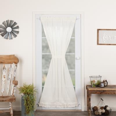 Tobacco Cloth Fringed Door Panel - Door Panel 72x40 - Door Panel 72x40