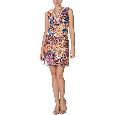 Laundry by Shelli Segal Womens Shift Dress Printed Fringe - Multi - 6