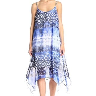 NY Collection NEW Blue Women's Size XL Asymmetrical Chain-Strap Dress