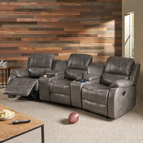Meridan Fabric Theatre Seating Recliner by Christopher Knight Home