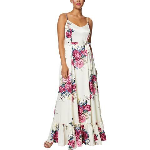Betsey Johnson Womens Petites Maxi Dress Floral Ruuffled - Gardenia - 6P