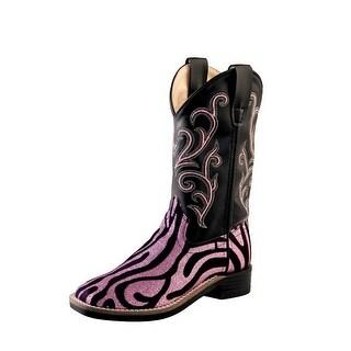 Old West Cowboy Boots Girls Kids Zebra TPR Outsole Pink Black VB9129
