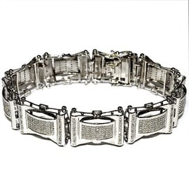 Diamond Bracelet for Men 20mm Extra Wide 1cttw Diamonds Pave Set Diamonds 8.5 inch Long