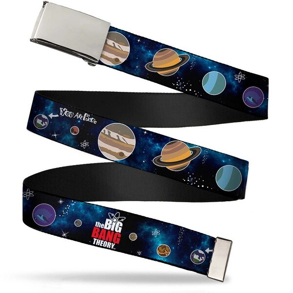 Blank Chrome Buckle The Big Bang Theory Planets Space Webbing Web Belt