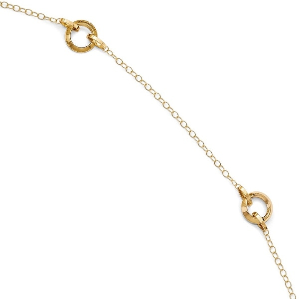 Italian 14k Gold Polished with 1in ext. Anklet - 10 inches