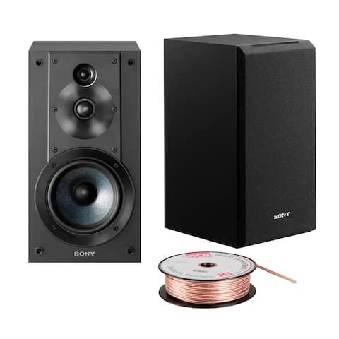Sony SSCS5 3-Way 3-Driver Bookshelf Speaker System (Black) Bundle