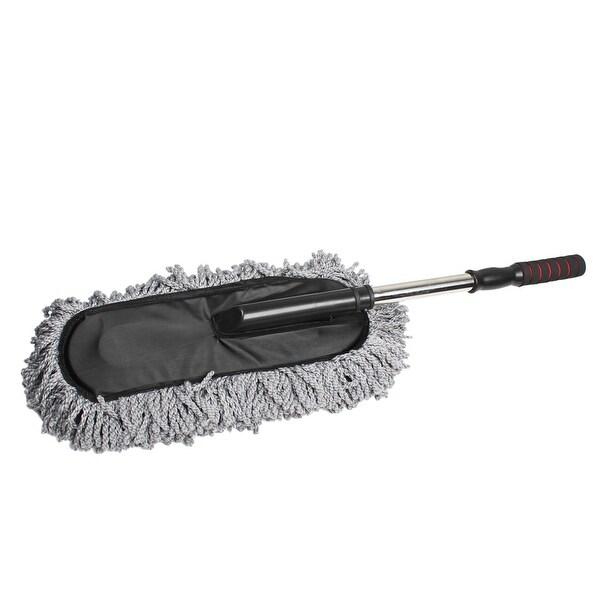 "Unique Bargains 34.3"" Length Black Plastic Handle Car Microfiber Cleaning Dirt Wash Brush Gray"