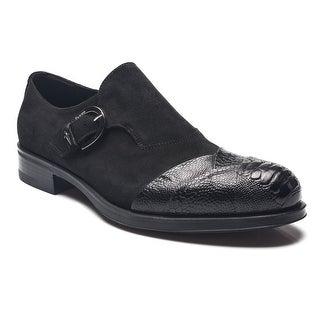 Cesare Paciotti Men Leather Struzzo Loafers Black