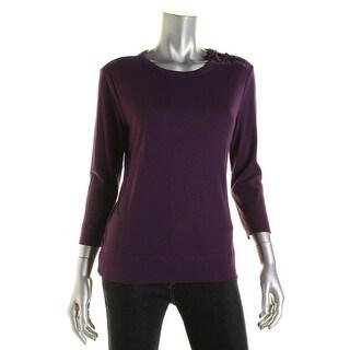LRL Lauren Jeans Co. Womens Lace-Up Shoulder Knit T-Shirt - M