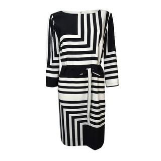Tahari Women's Kris Belted Angle-Striped Shift Dress - 6