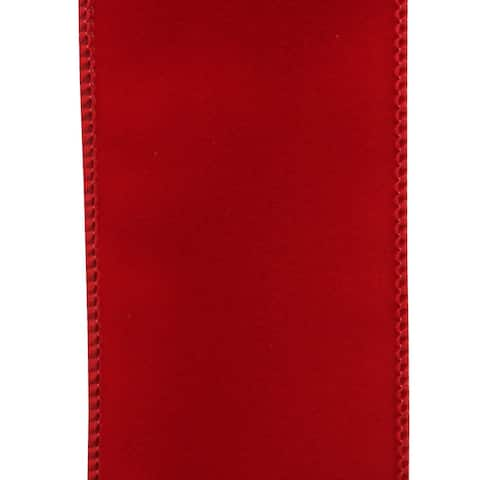 """Bright Red Bordered Solid Wired Craft Ribbon 2.5"""" x 150 Yards"""