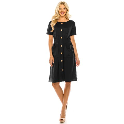Haute edition Women's Solid button down dress with pockets