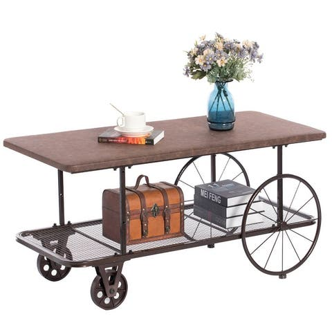 Industrial Wagon Style Coffee Table Rustic End Table Magazine Holder. Set of 2