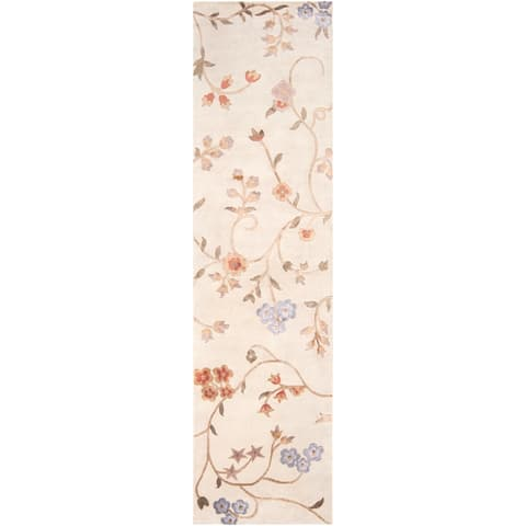 """Hand-knotted Tan Floral Whitehall Semi-Worsted New Zealand Wool Area Rug - 2'6"""" x 10' Runner"""