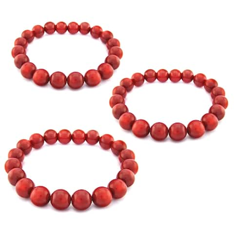 3 pcs of Stretch Bracelets with 10mm Simulated Red Coral 7.25""