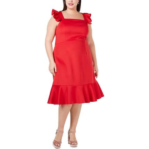 Betsey Johnson Womens Plus Cocktail Dress Ruffled Sleeveless - Lipstick Red