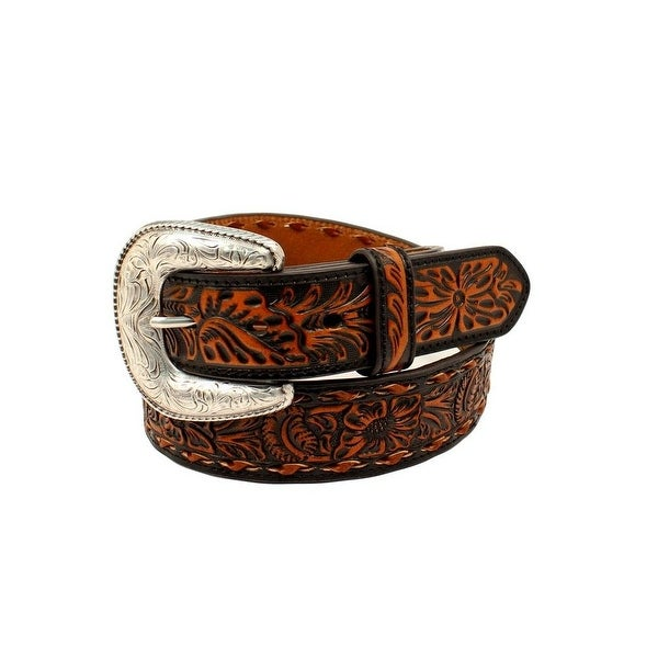 Ariat Western Belt Mens Floral Embossed Lace Removable Buckle